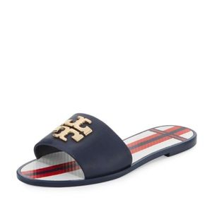 Tory Burch Leather Jelly Logo Sandals Navy 6